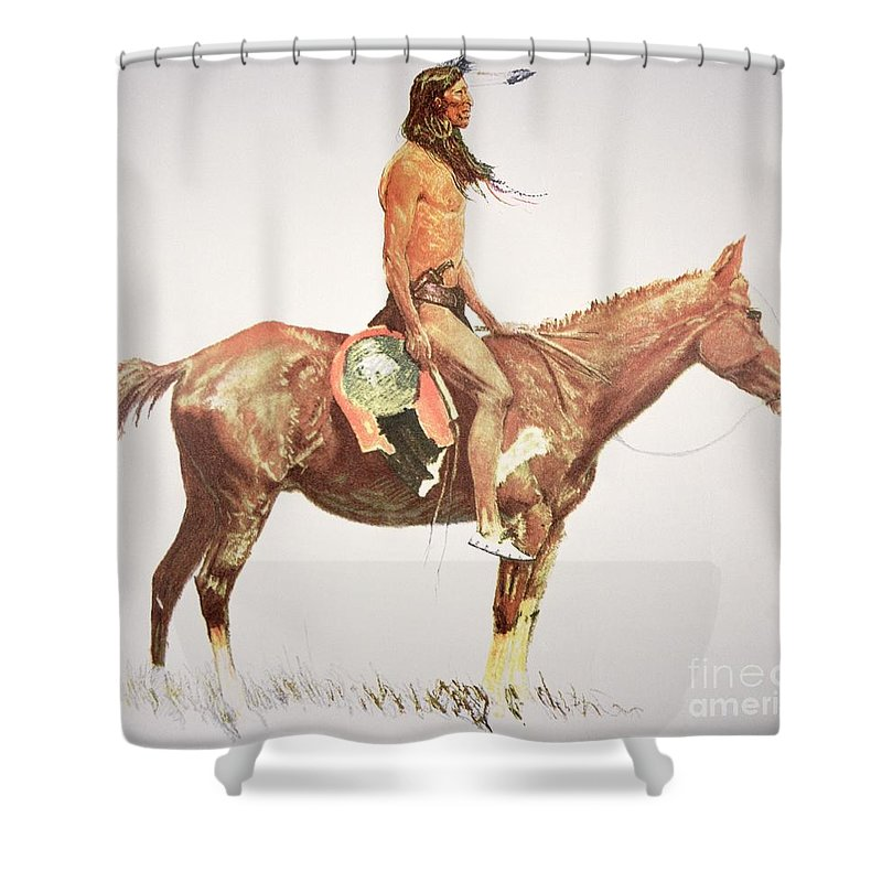 A Cheyenne Brave Shower Curtain featuring the painting A Cheyenne Brave by Frederic Remington
