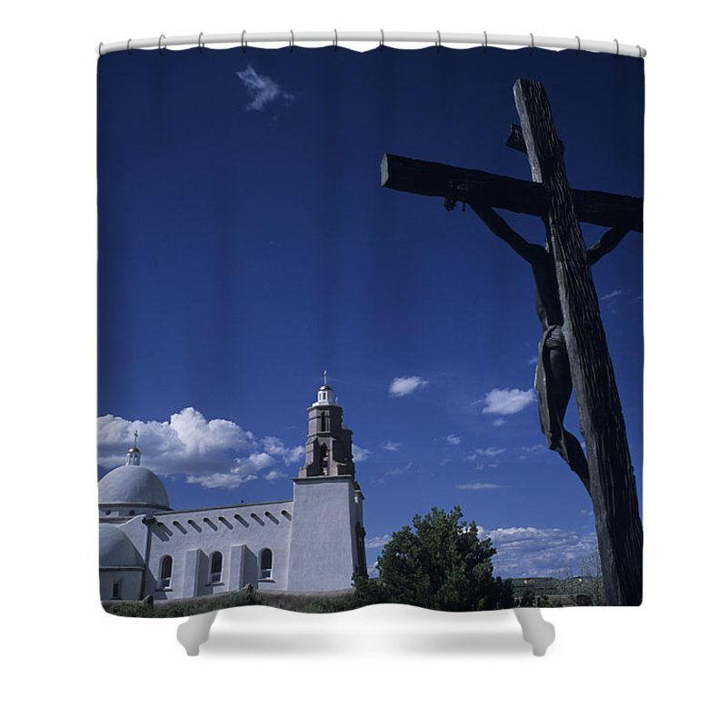 San Luis Shower Curtain featuring the photograph A Church In Colorado Displaying by Taylor S. Kennedy