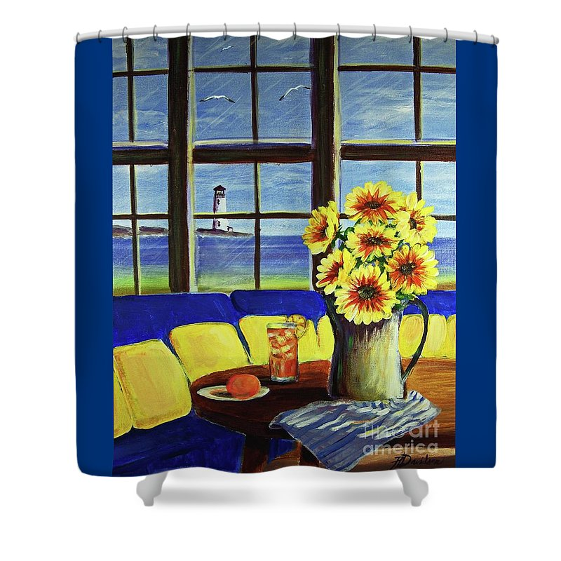 Beaches Shower Curtain featuring the painting A Coastal Window Lighthouse View by Patricia L Davidson