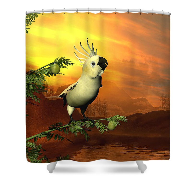 Cockatoo Shower Curtain featuring the digital art A Cockatoo In A Tree by John Junek