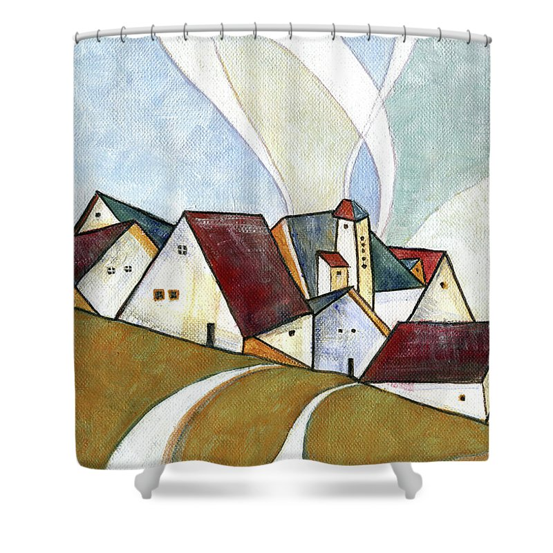 Original Art Shower Curtain featuring the painting  A Cold Day by Aniko Hencz