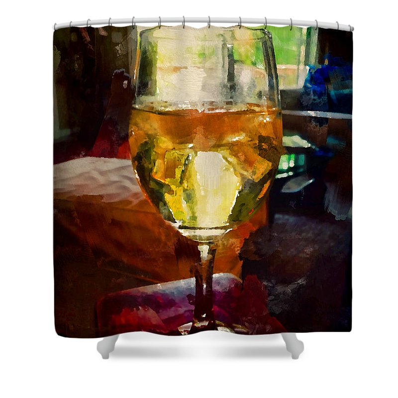 Wine Shower Curtain featuring the photograph A Cold Glass Of Wine by Gary Nelson