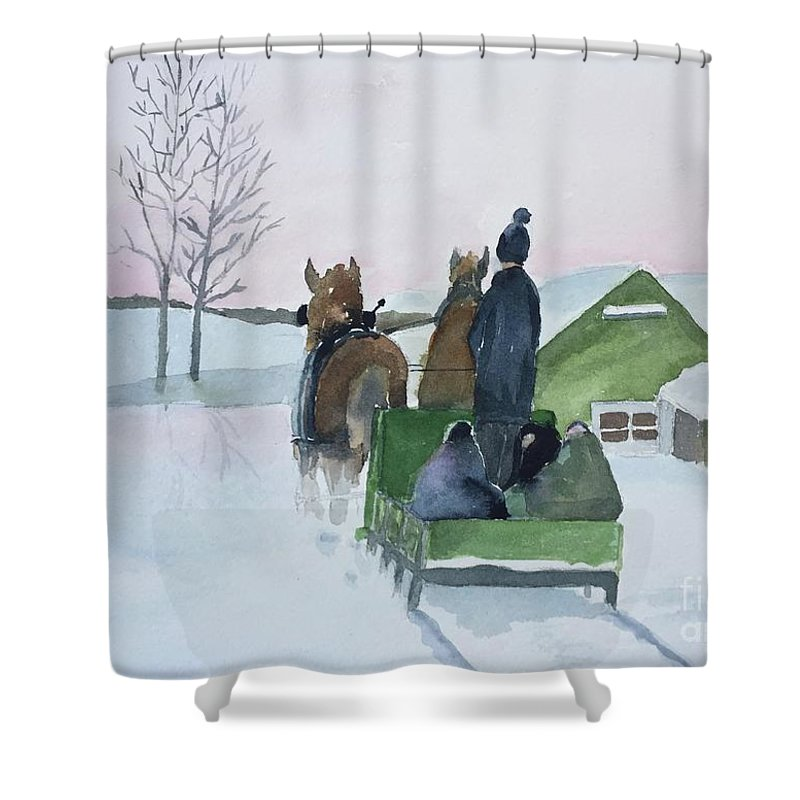 Cold Shower Curtain featuring the painting A Cold Ride by Christine Lathrop