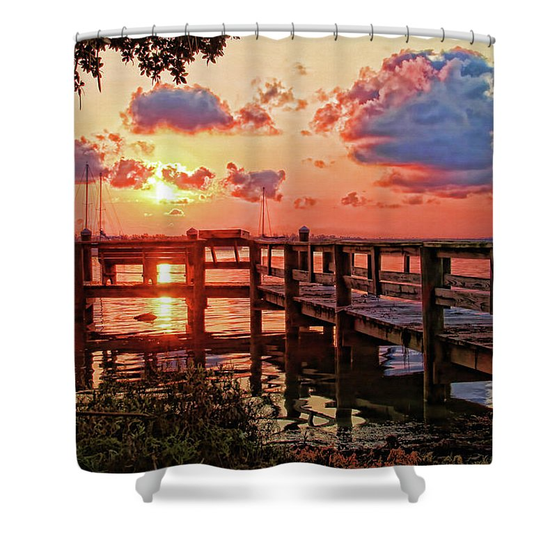 Florida Sunrise Shower Curtain featuring the photograph A Colorful Sunrise by HH Photography of Florida