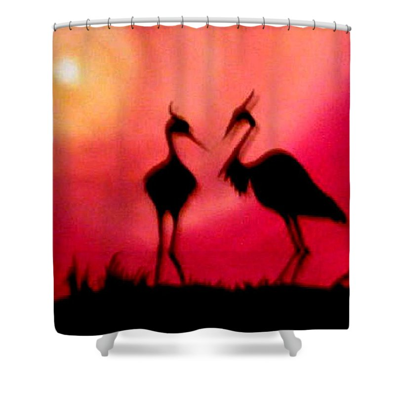 Swans Shower Curtain featuring the painting A Conversation by Glory Fraulein Wolfe