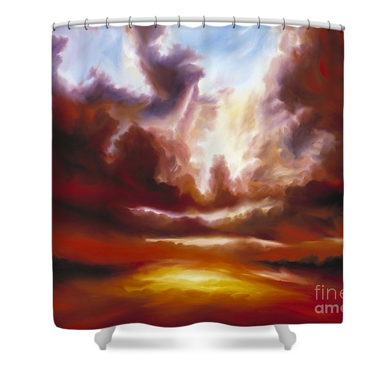 Tempest Shower Curtain featuring the painting A Cosmic Storm - Genesis V by James Christopher Hill