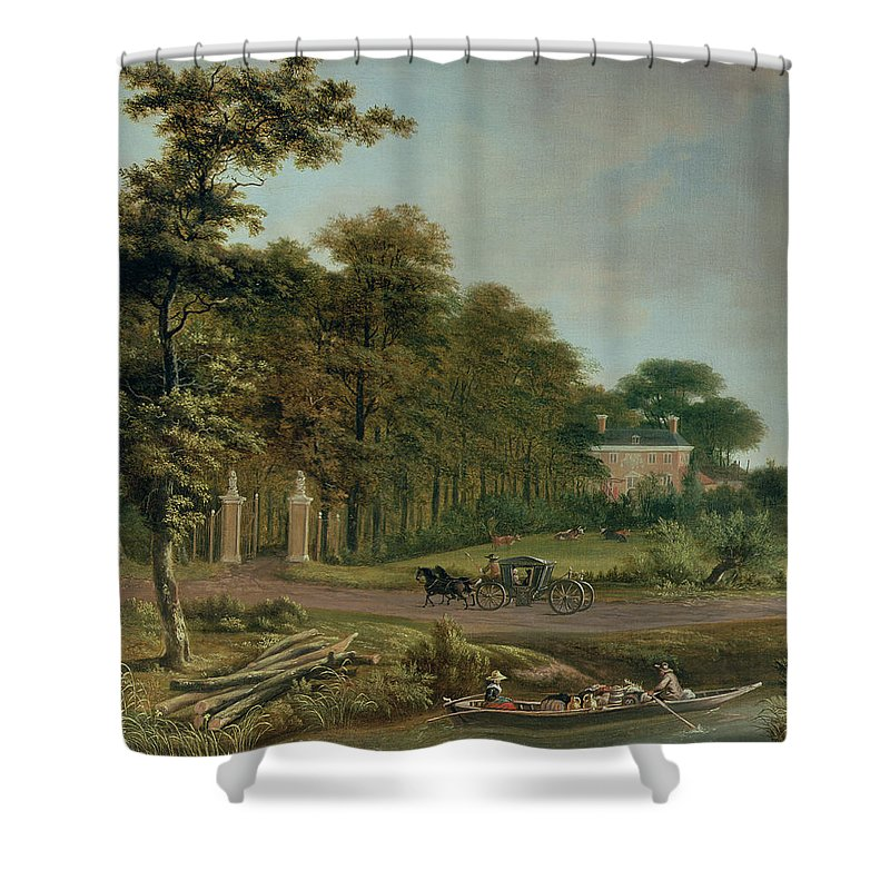 Country Shower Curtain featuring the painting A Country House by J Hackaert