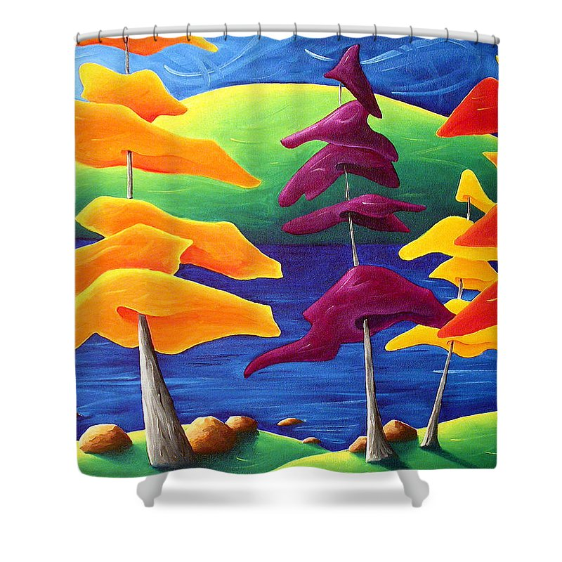 Landscape Shower Curtain featuring the painting A Crowd Gathers by Richard Hoedl