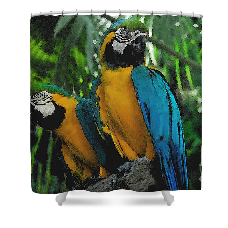 Tropical Shower Curtain featuring the painting A Curious Pair by David Lee Thompson