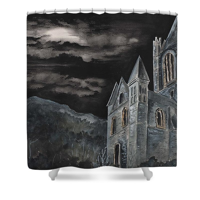 Landscape Gothic House Castle Church Dark Sky Watercolor Shower Curtain featuring the painting A Dark Strange Night by Brenda Owen