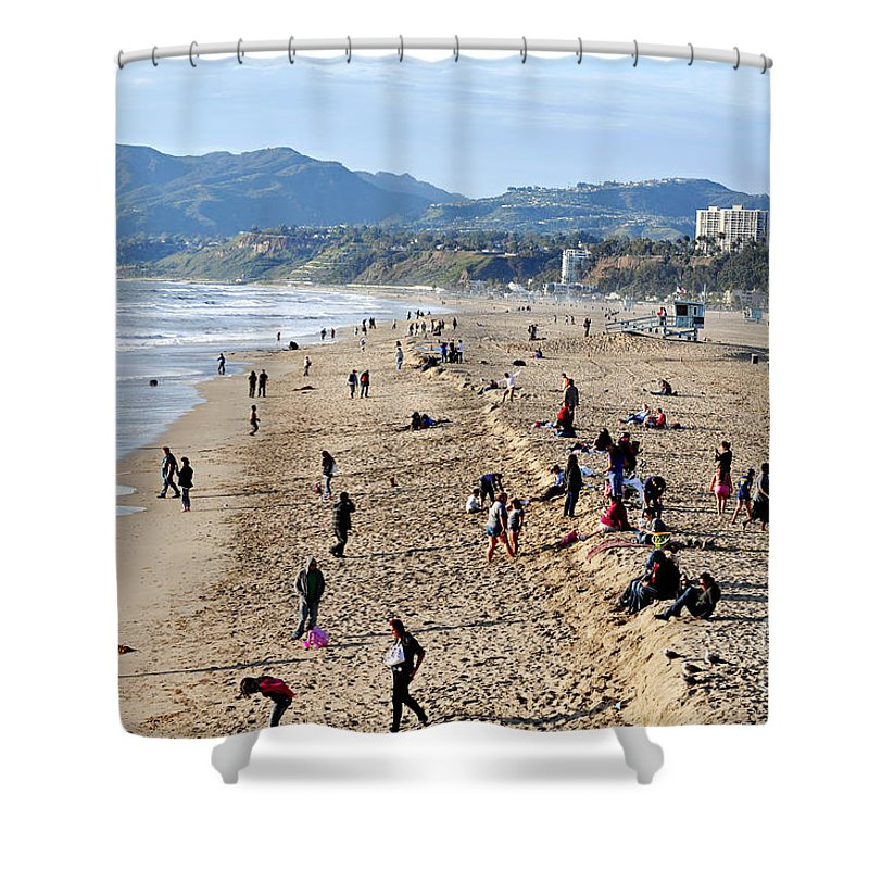 Clay Shower Curtain featuring the photograph A Day At The Beach In Santa Monica by Clayton Bruster