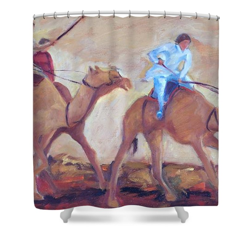 Figurative Shower Curtain featuring the painting A Day At The Camel Races by Ginger Concepcion