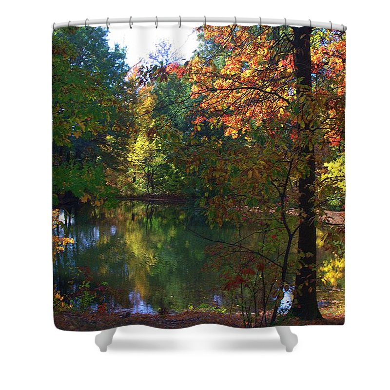 Landscape Shower Curtain featuring the photograph A Day At The Lake by Thomas Mack