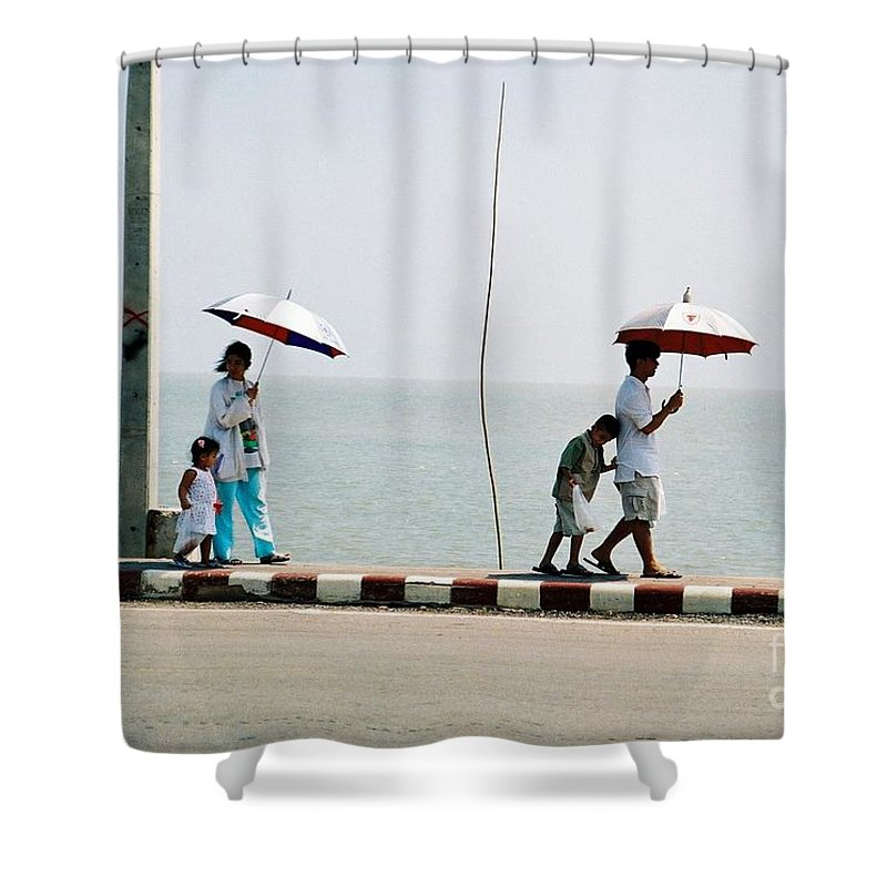 Landscape Shower Curtain featuring the photograph A Day By The Sea by Mary Rogers