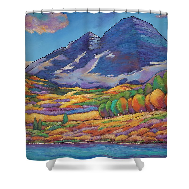 Aspen Tree Landscape Shower Curtain featuring the painting A Day in the Aspens by Johnathan Harris