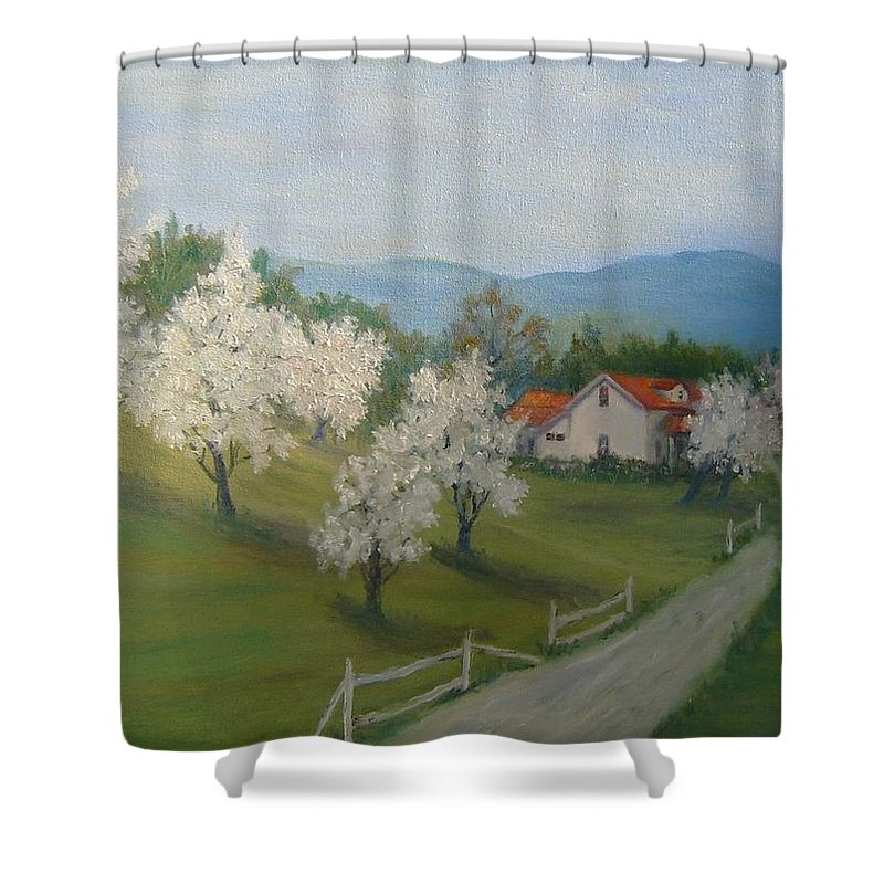 Landscape; Spring; Mountains; Country Road; House Shower Curtain featuring the painting A Day In The Country by Ben Kiger