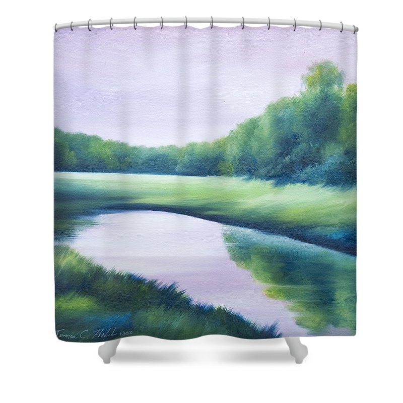 Nature; Lake; Sunset; Sunrise; Serene; Forest; Trees; Water; Ripples; Clearing; Lagoon; James Christopher Hill; Jameshillgallery.com; Foliage; Sky; Realism; Oils; Green; Tree; Blue; Pink; Pond; Lake Shower Curtain featuring the painting A Day In The Life 1 by James Christopher Hill