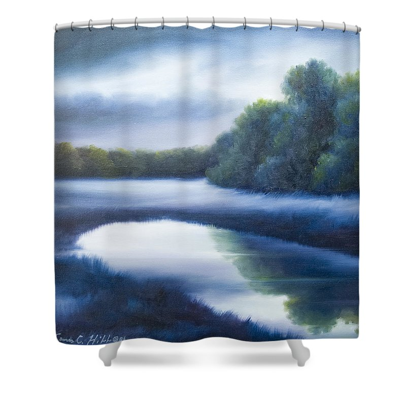 Nature; Lake; Sunset; Sunrise; Serene; Forest; Trees; Water; Ripples; Clearing; Lagoon; James Christopher Hill; Jameshillgallery.com; Foliage; Sky; Realism; Oils; Green; Tree; Blue; Pink; Pond; Lake Shower Curtain featuring the painting A Day In The Life 4 by James Christopher Hill