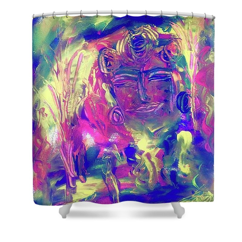 Meditation Shower Curtain featuring the painting A Day To Meditate by Marilyn St-Pierre