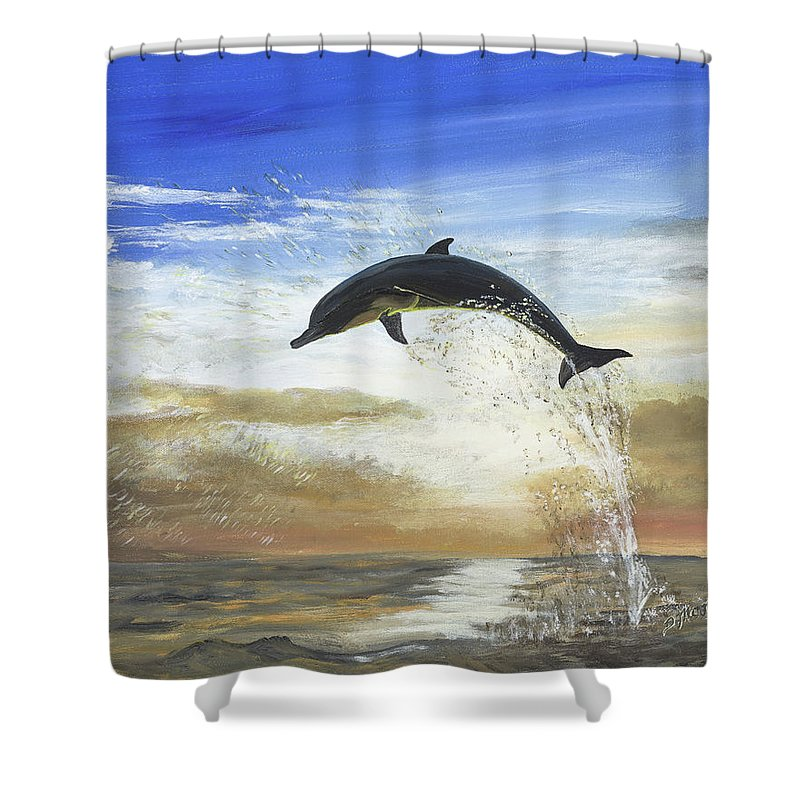 Dolphin Shower Curtain featuring the painting A Dolphin's Life by Donna Mann