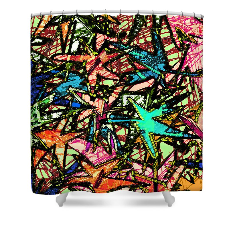 Abstract Shower Curtain featuring the digital art A Dream Shattered by William Russell Nowicki