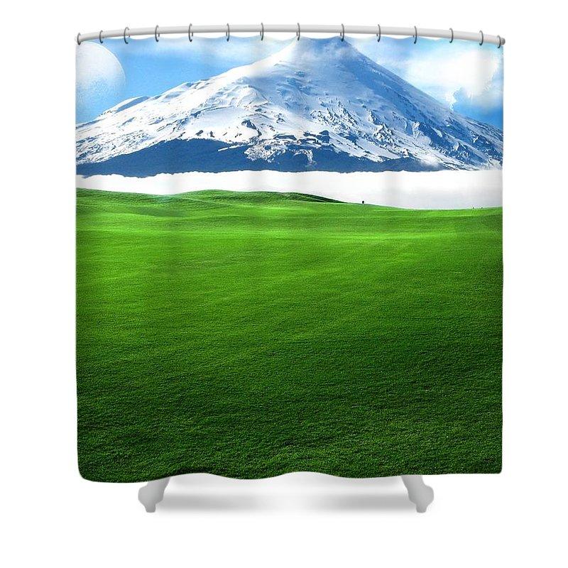 A Dreamy World Shower Curtain featuring the digital art A Dreamy World by Mery Moon