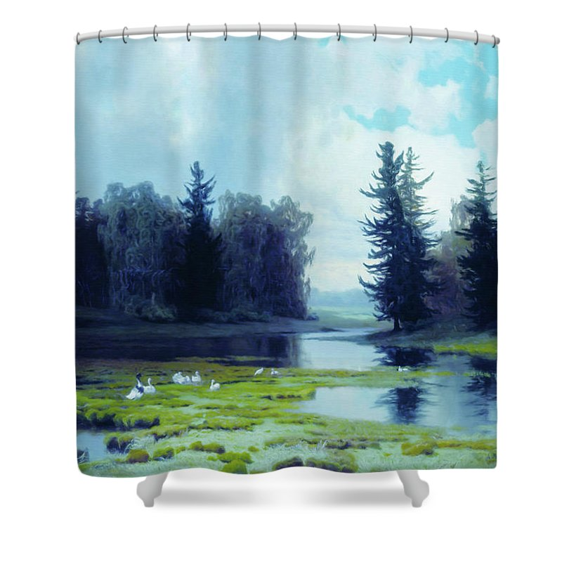A Dreary Day At The Pond Shower Curtain featuring the mixed media A Dreary Day At The Pond by Georgiana Romanovna