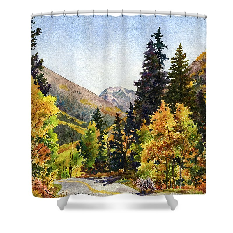 Colorado Fall Scene Painting Shower Curtain featuring the painting A Drive In The Mountains by Anne Gifford