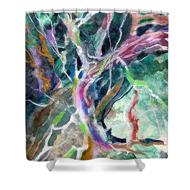 Tree Shower Curtain featuring the painting A Dying Tree by Mindy Newman