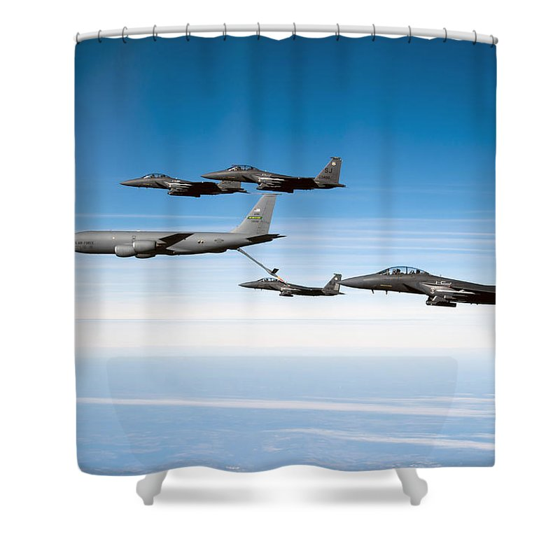 Kc-135 Stratotanker Shower Curtain featuring the photograph A F-15e Strike Eagle Is Refueled by Stocktrek Images