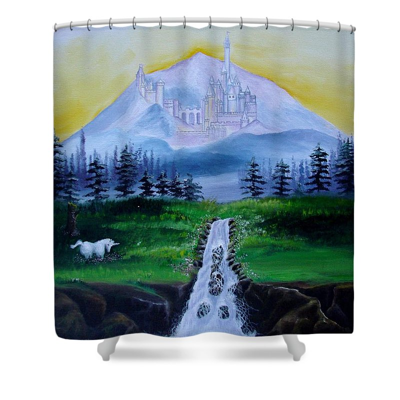 Landscape Shower Curtain featuring the painting A Fairytale by Glory Fraulein Wolfe