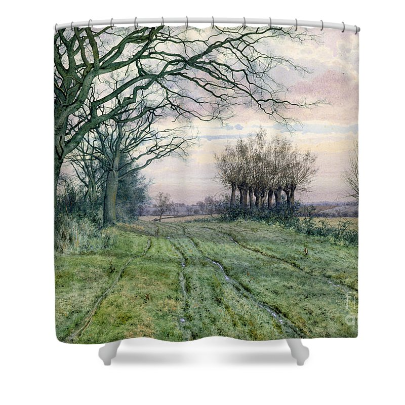 Fenland Shower Curtain featuring the painting A Fenland Lane With Pollarded Willows by William Fraser Garden