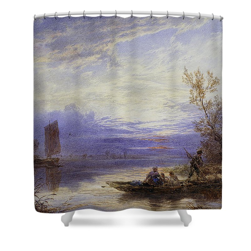 A Ferry At Sunset Shower Curtain featuring the painting A Ferry At Sunset by Myles Birket Foster