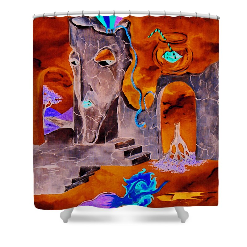 Surreal Sky Mermaids Trees Stairs Heaven Shower Curtain featuring the painting A Few Seconds In My Head by Veronica Jackson