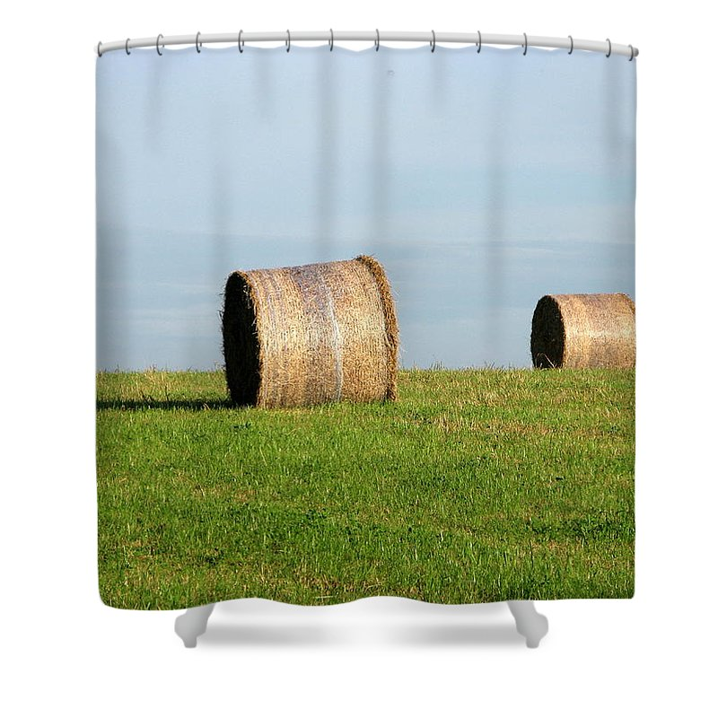 Haybales Shower Curtain featuring the photograph A Fine Day by Maria Joy