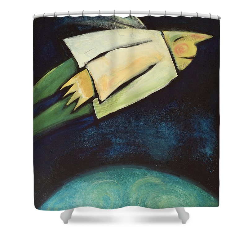 Universe Shower Curtain featuring the painting A Finger Two Dots Then Me by Tim Nyberg