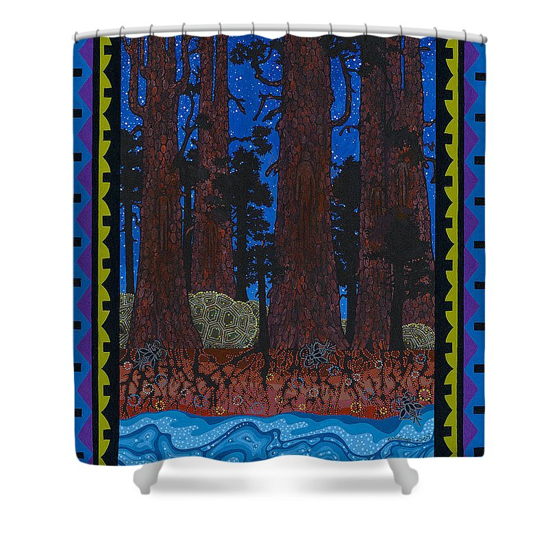 Native American Shower Curtain featuring the painting A Forest Whispers by Chholing Taha
