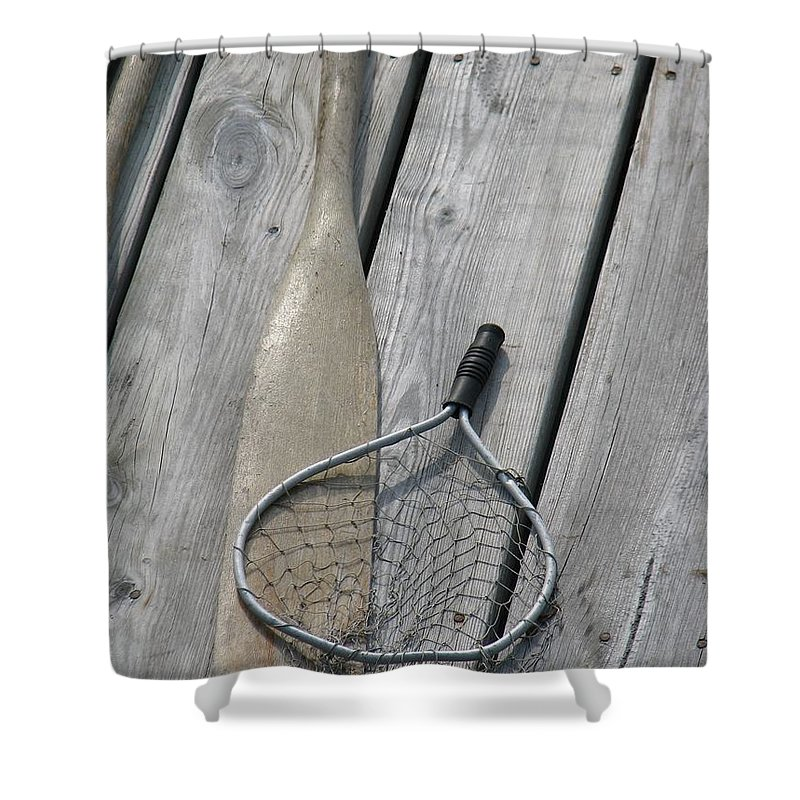 Net Shower Curtain featuring the photograph A Fisherman's Tools by Kelly Mezzapelle