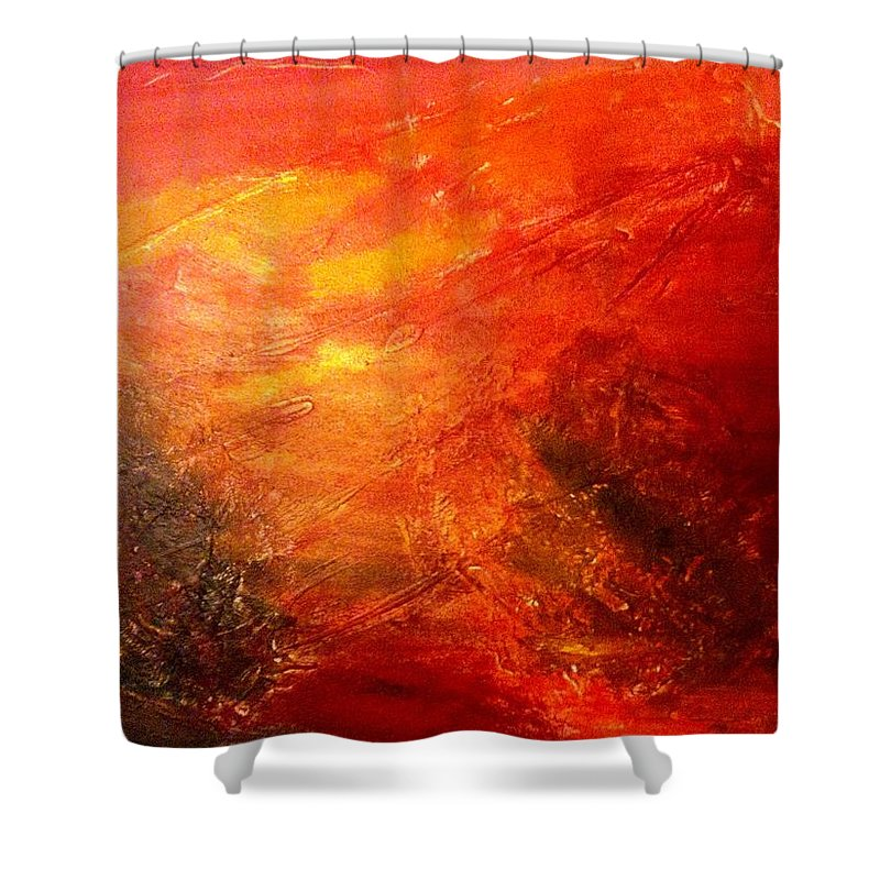 Red Shower Curtain featuring the painting A Forest by Solenn Carriou