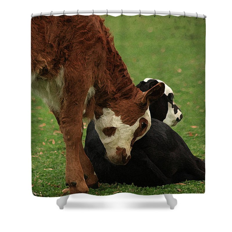 Calfs Shower Curtain featuring the digital art A Friend Indeed by Kim Henderson