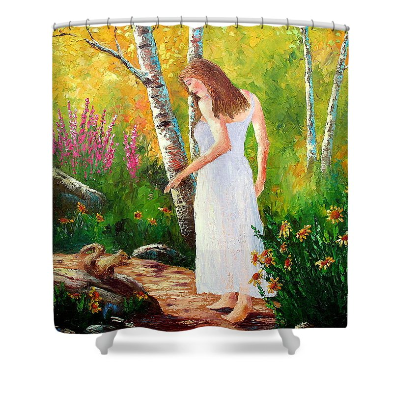Landscape Shower Curtain featuring the painting A Friendly Greeting by David G Paul