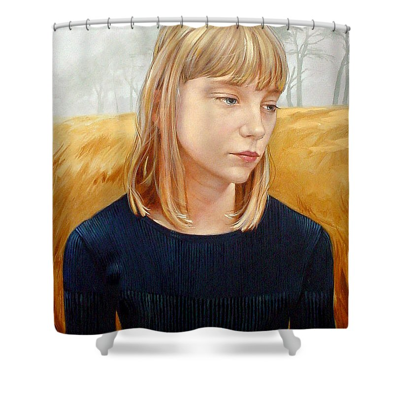 Girl Shower Curtain featuring the painting A Gang Of Crows by Jerrold Carton