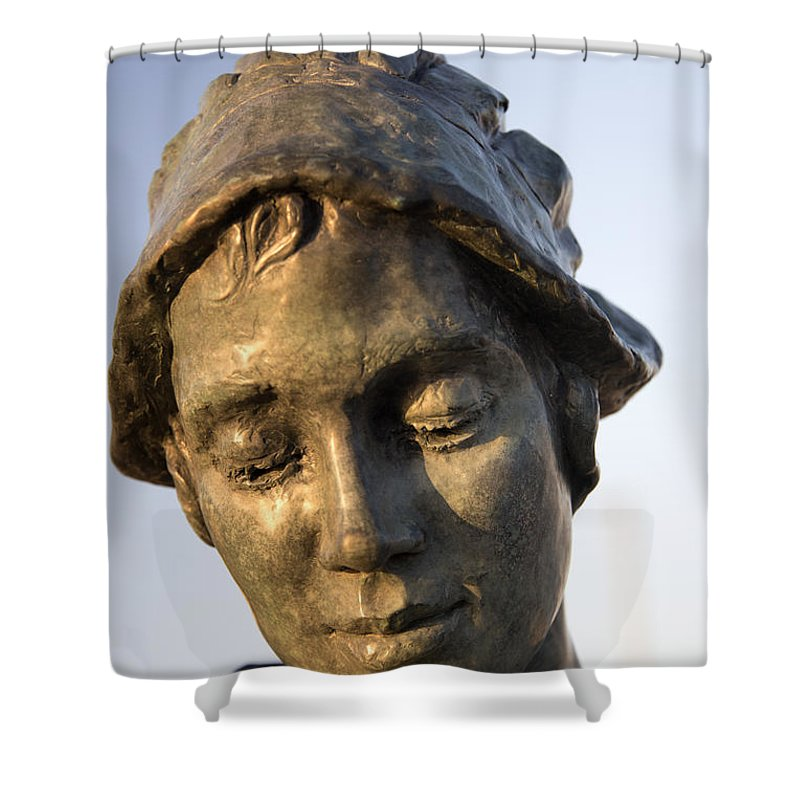 Gansey Girl Shower Curtain featuring the photograph A Gansey Girl Portrait by David Hollingworth