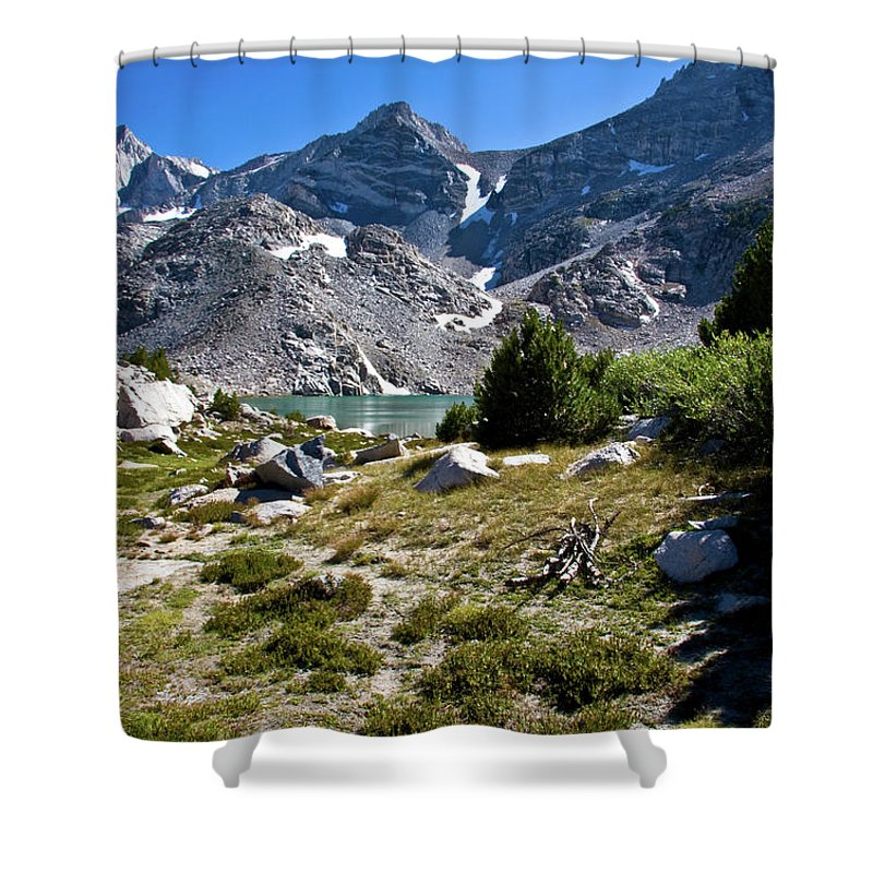 Treasure Lake Shower Curtain featuring the photograph A Glimpse Of Treasure by Chris Brannen