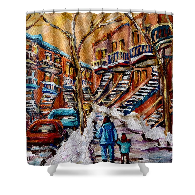 Montreal Shower Curtain featuring the painting A Glorious Day by Carole Spandau