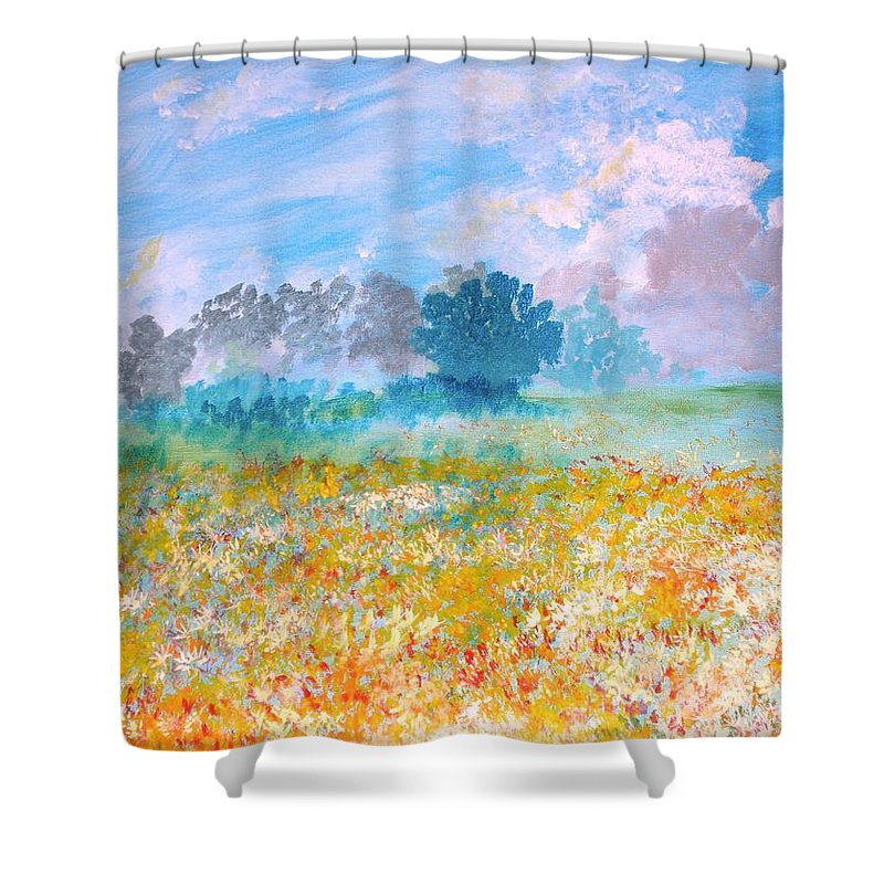 New Artist Shower Curtain featuring the painting A Golden Afternoon by J Bauer