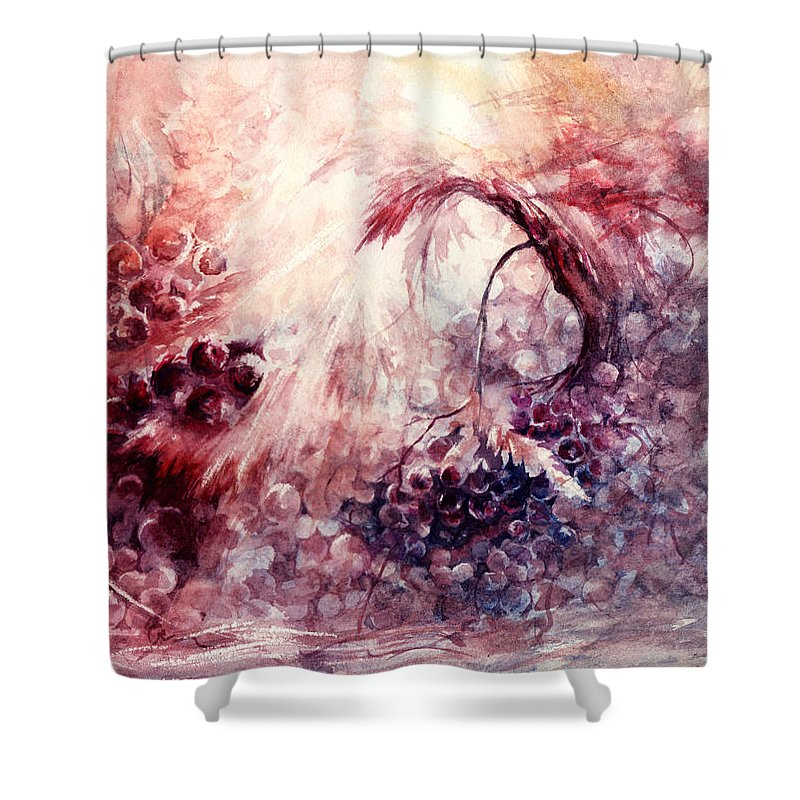 Grapes Shower Curtain featuring the painting A Grape Fairy Tale by Rachel Christine Nowicki