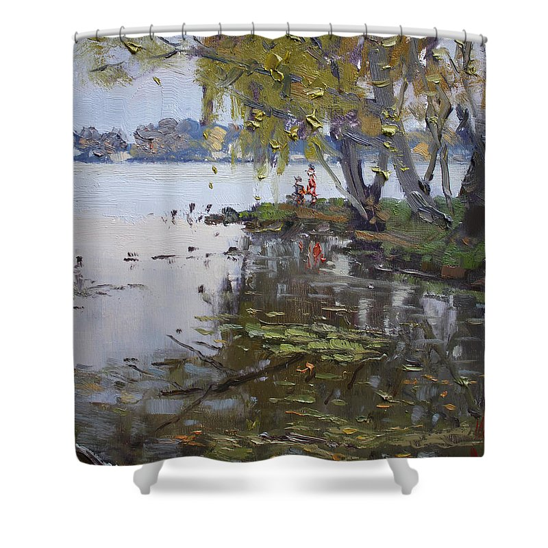 Gray Day Shower Curtain featuring the painting A Gray Rainy Day At Fishermans Park by Ylli Haruni
