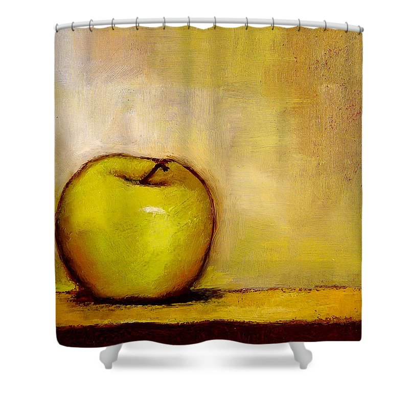Still Life Shower Curtain featuring the painting A Green Apple by Bob Kimball