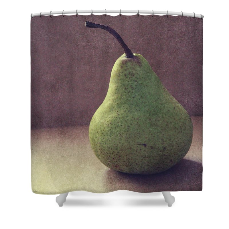 Pear Shower Curtain featuring the photograph A Green Pear- Art By Linda Woods by Linda Woods